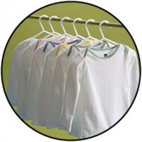 White Long Sleeve Antimicrobial Shirt - Green Trim